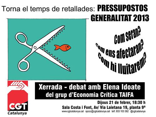 xerrada pressupostos 2013 21 de febrer 2013 a les 18.30h a CGT