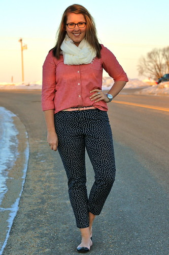 polka dot pants, pink