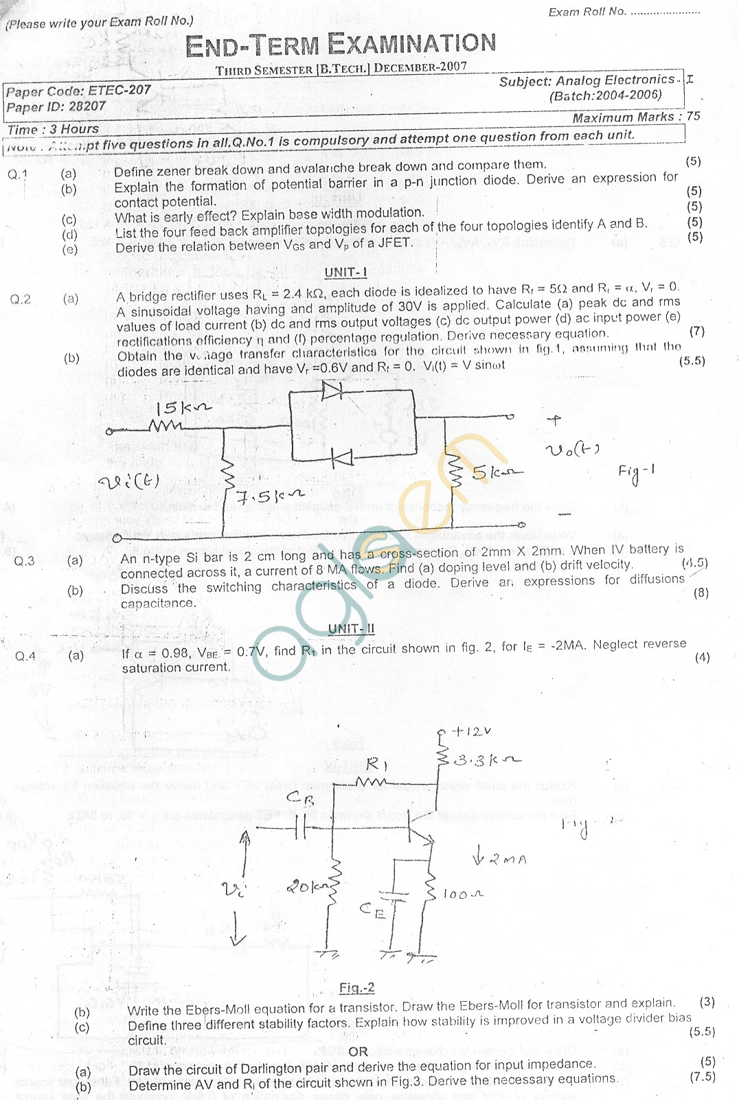 GGSIPU Question Papers Third Semester – End Term 2007 – ETEC-207