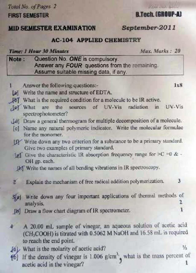 DTU Question Papers 2011 - 1 Semester - Mid Sem - Group A 1 Semester : Group B 2 Semester
