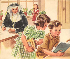 Catholic school students and Sisters, Brothers, Priests teaching