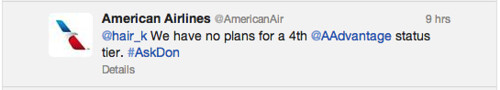 Twitter answer from @AmericanAir