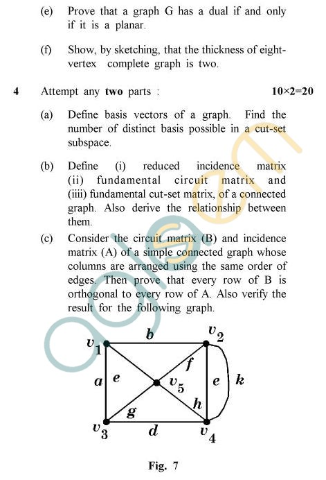 UPTU B.Tech Question Papers - TMA-011/MA-011 - Graph Theory