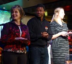 The winning trio - Deb Nystrom, Omar, Molly - Entre-Slam Ann Arbor, soon to move to Entre-Slam Detroit
