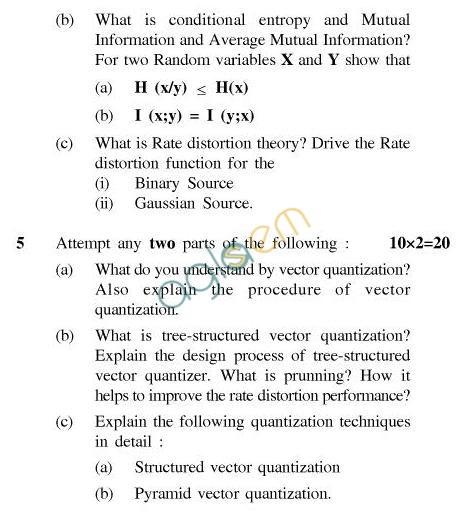 UPTU B.Tech Question Papers - CS-054-Data Compression
