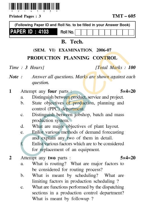 UPTU B.Tech Question Papers - TMT-605 - Production Planning & Control