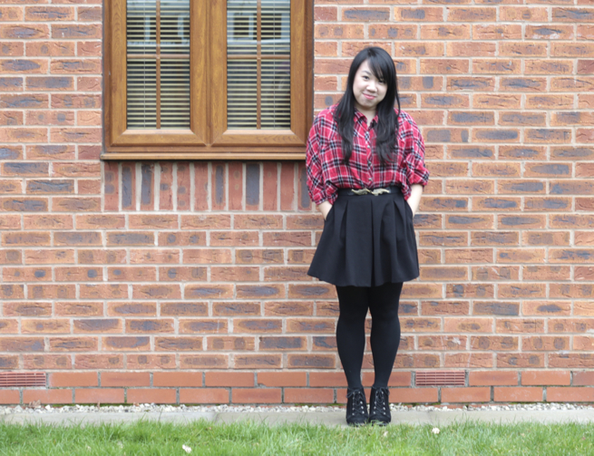 Checked blouse and skirt