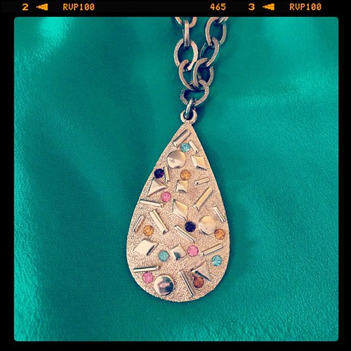 "[Oh our heart skipped a beat!] We've got a whole new collection of vintage accessories just in, and this gorgeous authentic Sarah Coventry teardrop gem necklace is one of the signed pieces in store now! Circa 1960, stamped ""Sarah Cov"". :)"