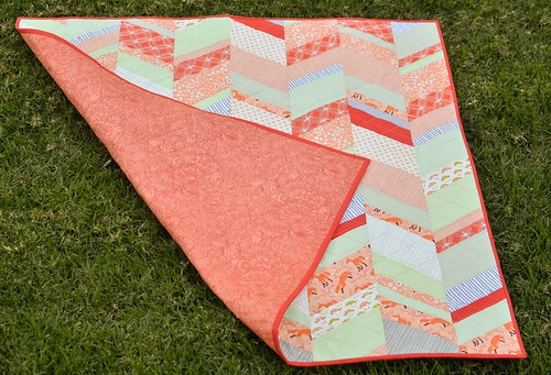 peachy baby quilt with back