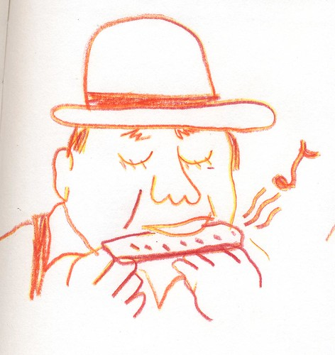 Harmonica Player sketch by willlaren
