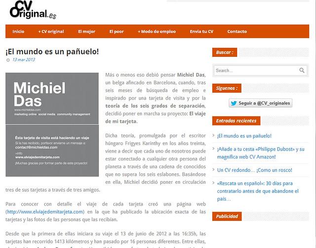 Mención en blog - CVOriginal.com (13.03.2013) - castellano