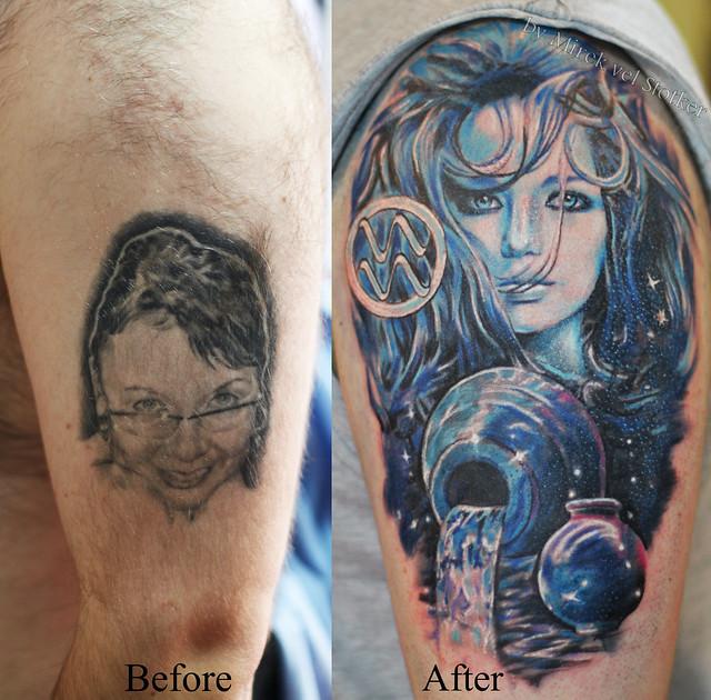Aquarius Tattoo Cover Up By Mirek Vel Stotker