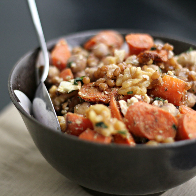 Roasted Carrot and Chickpea Wheat Berry Salad | Joanne Eats Well With ...