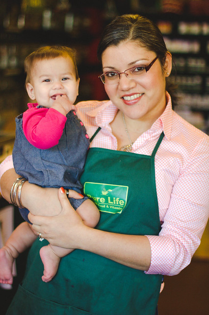Victoria Chavez and little Emilia of Pure Life Organics in Downtown Wilmington, NC