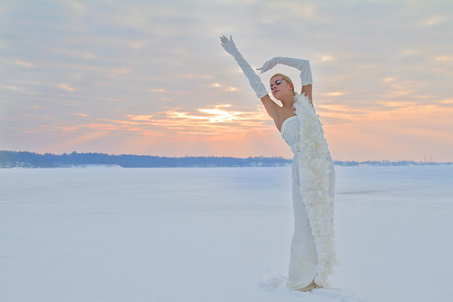 sunset woman cloud sun snow cold ice river swan model daugava