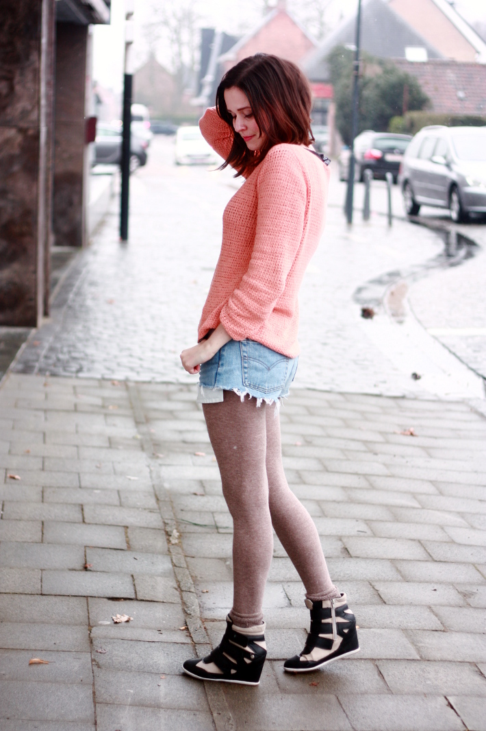 Peach Knit, Boyfriend Shorts and Sneaker Wedges