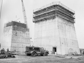 Construction Progress of the S-IC Test Stand (NASA, Marshall, Archive, 03/29/63)