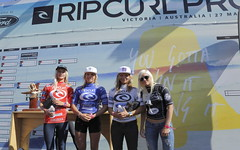 Girls International GromSearch finalists (left to right) Zoe Clarke (4th), Isabella Nichols (2nd), Kim Veteau (3rd) and winner Tatiana Weston-Webb.