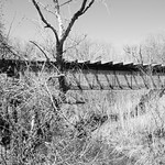 Railroad Bridge over Long Branch at I-45, Ferris, Texas 1303271141bw