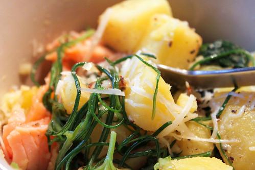 Kartoffeln Lachs Spinat Mönchsbart