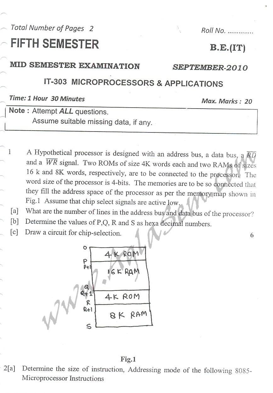 DTU Question Papers 2010 – 5 Semester - Mid Sem - IT-303