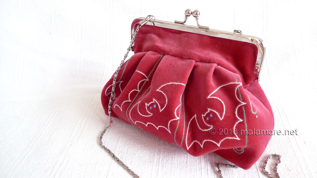 Formal velvet and satin handbags embroidered bats