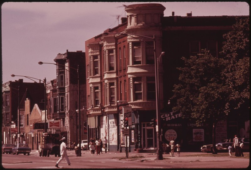 South Side Black Community In Chicago With Small Businesses And Apartments Over The Stores In The Older Buildings Near 43rd And Indiana Avenue, 06/1973