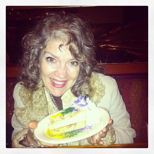 Mardi Gras cheesecake + me = fabulous happiness  #happyfoodie #cheesecake #yummy #food #dessert #smiles #mardigras #purplegoldandgreen