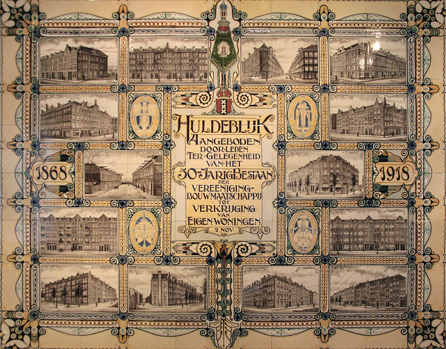 Glased working-class housing, De Key housing corporation tile panel 1918