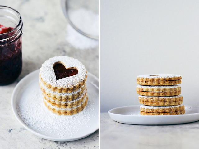 Almond linzer cookies with cherry preserves
