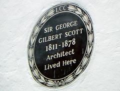 Photo of George Gilbert Scott brown plaque