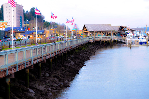 coos bay boardwalk with flags | Coos Bay, Oregon Weekend ...