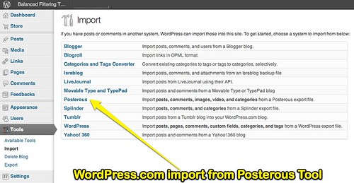 WordPress.com import from Posterous Tool