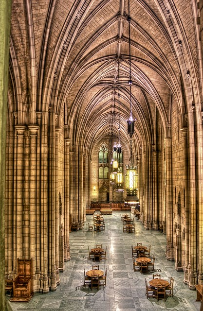 A second floor view of the Cathedral of Learning on the campus of the University of Pittsburgh HDR