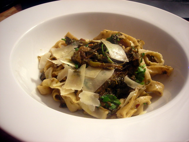 Slow-cooked broccoli rabe, homemade tagliatelle
