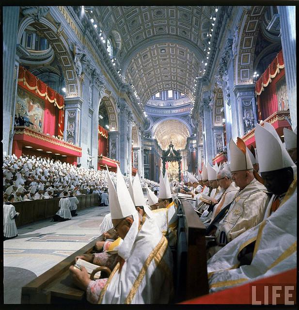 Rome 11/10/1962 - Toàn cảnh bên trong Ðền Thờ Thánh Phêrô trong thời gian Công đồng Vatican II