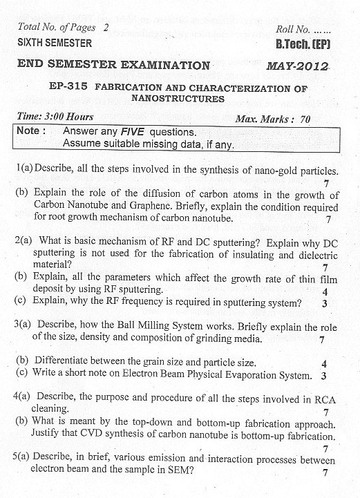 DTU: Question Papers 2012 - 6 Semester - End Sem - EP-315