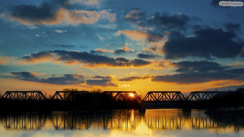 railroad bridge blue sunset sky orange reflection water clouds river gold rr filter reverse scioto nuetral