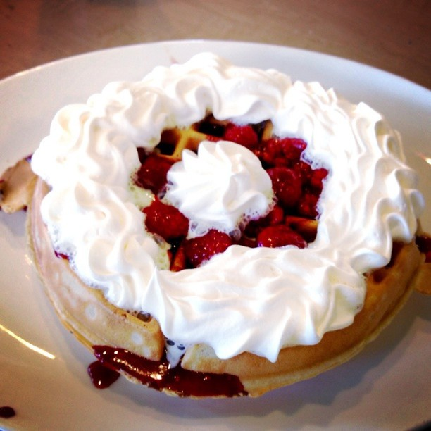 Post-race meal today. Belgian Waffle with Raspberries.