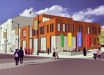 rendering of World Market Square (by: Jason Evans, [re]think syracuse, via Northside Urban Partnership)