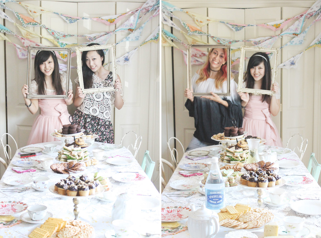 makeshift tea party photobooth