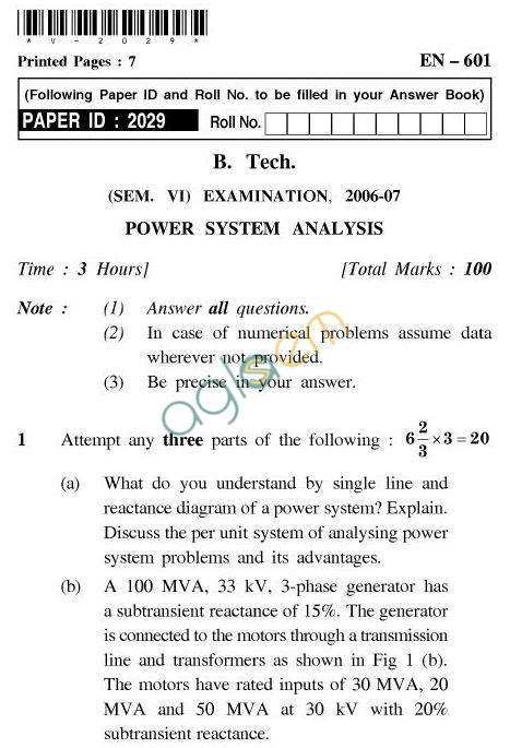 UPTU B.Tech Question Papers - EN-601-Power System Analysis