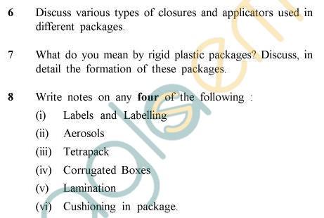 UPTU B.Tech Question Papers -PT-021 - Packaging Technology