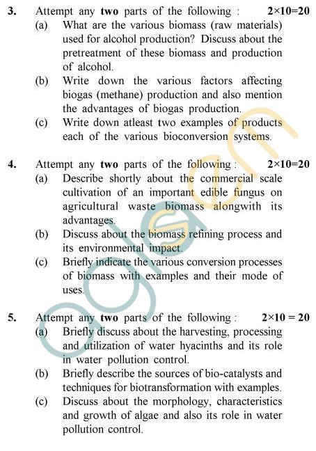 UPTU B.Tech Question Papers -BE-022 - Bioconversion