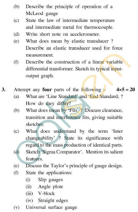 UPTU B.Tech Question Papers - TME-404 - Measurement, Metrology & Control
