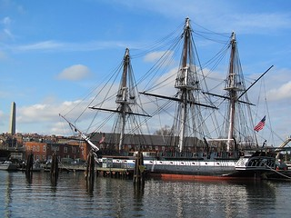 USS Constitution with Bunker Hill Monument