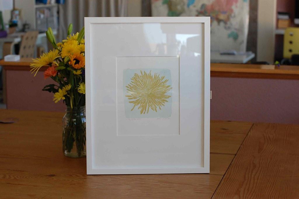 framed spider mum print