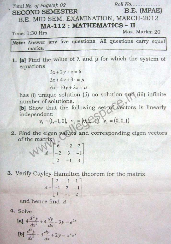 NSIT Question Papers 2012 – 2 Semester - Mid Sem - MA-112