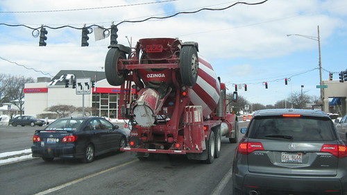 An Ozinga Ready Mix cement mixer truck.  Skokie Illinois.  Thursday, March 6th, 2013. by Eddie from Chicago