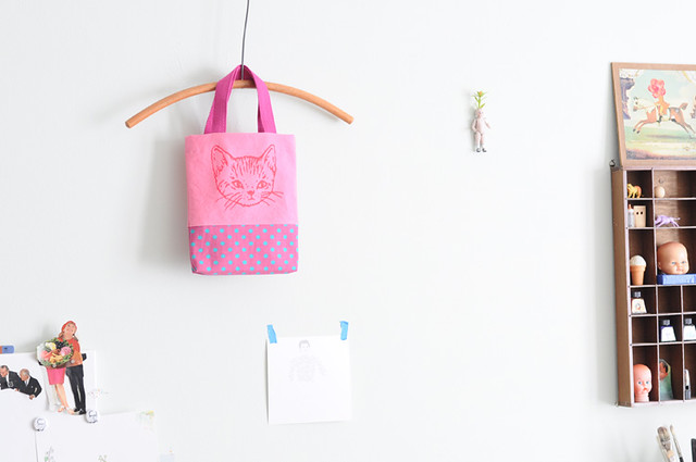 mini pink kitty tote